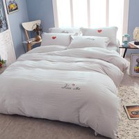 Wholesale Hand Embroidery Bedding Set - Hot Selling Embroidery Puff Fold Washed Cotton Bedding Set 4Pcs Comforter Duvet Cover Sheet Sets Bedclothes Bed Linen Girls Lovely Bed Sets