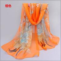 bufandas de georgette impresas al por mayor-2016 Recién llegados Verano y otoño Chales de verano Georgette de gasa Diadema Mujer Peacock largo Impreso bufandas
