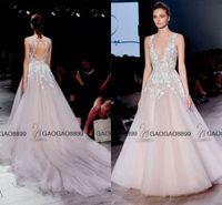 Wholesale New Fashion 3d Short Dresses - Hayley Paige 2016 New Fashion Blush Keyhole Back Wedding Dresses V-neck Sweep Train Plus Size Summer Beach Party Wedding Gown