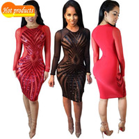 Wholesale Tight Stretch Dresses - 2016 O-neck Sexy Beach Maxi Red Mesh Stretch Tight Slim Bodycon Women Black Pencil Summer Club Mini Sequins Dress Dresses