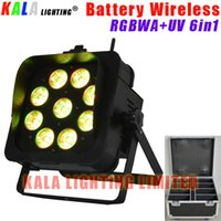 Wholesale Led Rechargeable Dj - (8Pcs Lot) High Quality By Rechargeable Flycase DJ LCD Display Battery Powered Wireless DMX LED 9X18W RGBWA+UV 6in1 PAR Light With Barn Door