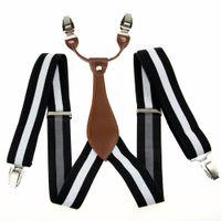 Wholesale White Clip Suspenders - Wholesale-Black White Stripe Mens Elastic Adjustable Clip-on Unisex Suspender Braces BD626