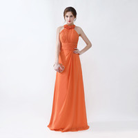 Wholesale fast delivery prom dresses - Free Shipping High Quality Prom Dresses Halter Neck Long Style Orange Evening Gowns Hot Sale Fast Delivery
