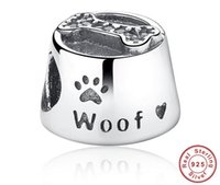 Wholesale Dog Glass Beads - 925 Sterling Silver Dog Woof Paw Pet Charm Bead With Fit for European Pandora charm Bracelet DIY Jewelry