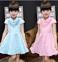 Wholesale Ethnic Skirt Girl - Baby Girl cheongsam Children Short Sleeve Cotton Dress Flower Girl Dress Tutu Princess Dress Children's Clothing Chinese Ethnic Dance Skirt