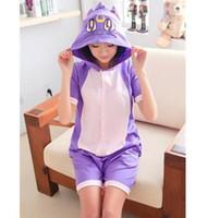 Wholesale Adult Short Onesies - Kawaii Anime Purple Cat Onesie Hoodie Pajamas Adult Summer Animal Pijamas Unisex Cotton Pyjamas Short Sleeve