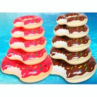 Wholesale Swimming Pools Inflatables - 2016 Summer Water Toy 36 inch Gigantic Donut Swimming Float Inflatable Swimming Ring Adult Pool Floats 2 Colors