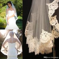 Wholesale veil flower lace edge resale online - 2016 to reach the veil lace short design single wedding bride s waist long hair comb CPA323
