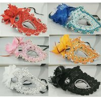 Wholesale Sexy Mask For Carnival - Women Handmade Venetian Leather Mask Rhinestone Side flower Masquerade Masquerade Party Mask Sexy Princess Dance Wsdding Birthday Carnival