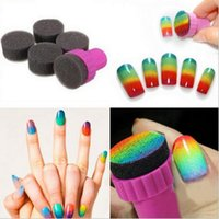 Wholesale Stamping Nail Art Color - Nail Art Makeup Styling tools Manicure Sponge Nail Art Stamper Tools with 5Pcs Nail Sponge For Gradient Color High Quality
