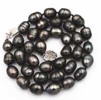 Wholesale pearl necklaces - new NATURAL MM TAHITIAN RICE BLACK gray PEARL NECKLACE quot