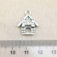 Wholesale Silver House Pendant - 25Pcs 19*16mm antique Silver Tonetop dog house Charms Zinc Alloy DIY Handmade Jewelry Pendants Wholesale