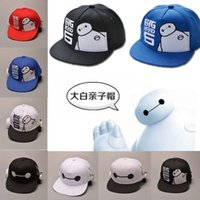 Wholesale Cartoon Basketball Hats Snapback - Big Hero 6 Baymax Hat Basketball Cap Snapback Cute Cartoon Child Ball Caps Casual Adjustable Sun Hats Fits Boys and Girls White Black Red