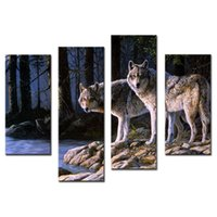 Wholesale Paint Wood Frames - 4 Pieces Wall Art Decor Picture of Two White Arctic Wolves in The Woods In Winter Animal Wolf Canvas Print For Home Decor with Wooden Framed