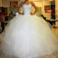 Wholesale Plus Size Diamond Wedding Dress - Sweetheart Custom made Ivory White Satin 2016 Tulle Wedding Dress Real Picture Beading Crystal Diamond Strapless Wedding Dresses Bridal Gown