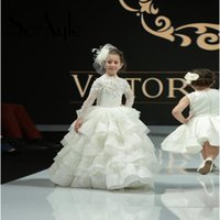Wholesale Snow Ball Wedding - Snow Winter Wedding Flower Girl Dresses Long Sleeve Vintage Lace Beaded Ruffle Train 2017 Custom Made Kids First Communion Party Dress Cheap