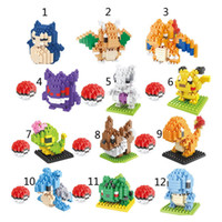 Wholesale Poke go Minifigure DIY Building Blocks style Pikachu gengar Lapras Charmander Bulbasaur Jeni turtle Diamond Brick Toys B