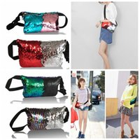 Wholesale Wholesale Glitter Belts - KKA3491 Sequin Glitter Waist Fanny Pack Belt Bum Bag Pouch Mermaid Sequin Purse bag Pouch pocket Clutch Sequins waist bag KKA3491