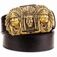 Wholesale Eagle Lighter - Wholesale-Fashion male leather belt lighter metal buckle belts Kerosene lighter belt punk rock style indians eagle show belt gift for men
