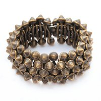 Wholesale Rivet Spikes Bronze - Gothic Punk Rock Studs Spike Rivets Shaped Stretch Bracelets For Women Silver Nickel Bronze For Choosing