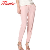 Wholesale Ladies Candy Color Pants - Wholesale-FIONTO Brand Ladies Trousers Long Casual Pants New Fashion Pure Color Elastic Chiffon Pants Candy Colors Leisure Trousers A0182