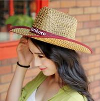 Wholesale Cowboy Rain Hats For Men - Bamboo weaving straw mat sunshade hat outdoor men homburg west cowboy hat cool fashion bucket hats for men