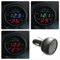 voltímetro de 12v para carro venda por atacado-3 em 1 VST-706 Digital LED carro Voltímetro Termômetro Auto Car USB Charger 12 V / 24 V Medidor de Temperatura Voltímetro Cigarro Mais Leve