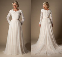 Wholesale Drop Neck Wedding Dress - 2016 Modest A-Line Lace Tulle Temple Wedding Dresses Long Sleeves V-Neck Sheer Sleeves Trains Buttons Back Bridal Gown Plus Size Arabic