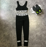 Wholesale Pink Ski Pants - Pink Tracksuits Pink Crop Tops Pants Pink Letter Sports Suit Women Sweat Suit Camis Vest Trousers Fashion Jogging Sportswear CCA7824 30set