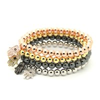 Venda Por Atacado 10pcs / lot 6mm Redondo Bronze Beads com Micro inlay zircon Fatima Hand Hamsa Cz Beads Strech Bracelets