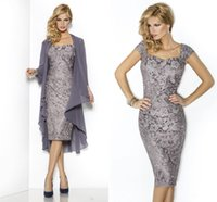 Wholesale Elegant Vintage Cocktail Dress - Elegant Two Pieces Prom Dress Gray Sheath Mother Party Dresses Cheap Knee Length Women Lace Formal Cocktail Dress With Jacket Evening Gowns