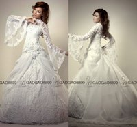 perlen bescheidene moslemische brautkleider großhandel-Muslim Brautkleider Türkei Ballkleid Stehkragen Modest Nahen Osten Dubai Arabisch Langarm Luxus Spitze Perlen Plus Size Brautkleider