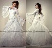 vestidos de casamento muçulmanos modestos frisados venda por atacado-Vestidos De Casamento muçulmano Turquia vestido de Baile Alta Pescoço Modesto Oriente Médio Dubai Árabe Manga Longa de Luxo Lace Frisado Plus Size Vestidos de Casamento