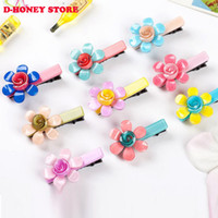 Wholesale kawaii bows - Fashion Kawaii hair clip flowers Bow Flower Hairpin Solid Children Girls Hair Clips Headband Baby Barrette Resin Hairpins