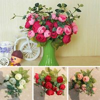 10 Cabeças Flores Bouquet de seda artificial Champagne Flower Table Spring Rose Hydrangea Wedding Home Decor