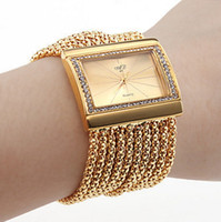 Wholesale Tungsten Watch Chain - Luxury gold silver color fashion vintage square shaped plating ipg chain women wrist watches alloy stainless steel watches