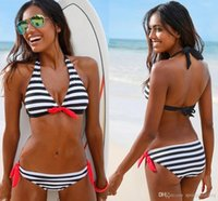 Wholesale Sexy Swimsuit Design - New Design Hot Sale Swimwear Bikinis Swimsuit women Halter Stripes Beach Bikini Sexy Swimsuit Dress beachwear FS0442