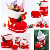 Wholesale Shoe Trees For Boots - Christmas Decorations Christmas Stocking Boot Shaped Candy Box Gift Bag Tree Ornament New Year Decoration For Kids Shoes