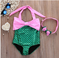 Wholesale Suit One Piece Kid Swimming - Girl mermaid one-piece bikini swimsuits Kids COSPLAY halter swimwear with fish scale bottom Children swimming suits with headband 3colors