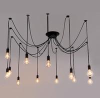 industrielle kronleuchter beleuchtung großhandel-Vintage Edison Industrie Chandelier Edison weiche Anhänger-Licht-weiches Bar Restaurant Schlafzimmer E27 Art Pendant industrielle Lampe # 01