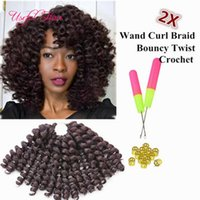 Wholesale janet braiding hair online - high quality inch wand curl bouncy twist crochet hair extensions Janet Collection synthetic braiding hair ombre crochet braiding hair