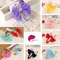 Wholesale Hair Flower Patterns - Free Shipping Korean Mix Color Handmade Ribbon Flower Pattern Bowknot BB Clips Kid Girl Hairpins Hairclip For Children Baby Hair Accessories