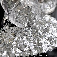 Atacado- Bling Silver Color 1mm Hexagonal Acrílico Sparkly Glitter Sequins Powder Nails Art Tips Body Crafts Decoration N07