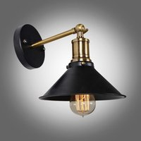 Preto industriais no atacado-Moderno, Metal Umbrella Loft Vintage Wall Light Lamp Chaves Retro arandela Edison Lamp E27 26 centímetros de diâmetro