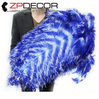 Wholesale White Ostrich Feathers For Sale - ZPDECOR 70-75cm(28-30inch) Incredible White and Royal Blue Striped Dyed Large Ostrich Feathers for Bulk Sale