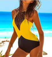 yellow swimming suit 2018 - New Swimwear Bikini Swimsuits For Women Bath Sexy One Piece Patchwork Double colors Beachwear Swimming Suit Costumes XL