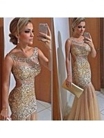 Wholesale Sexy Images Net - Free Shipping Charming Gold Fashion Long Evening Dress Trumpet Mermaid Straps Sleeveless Sequin Floor-Length Net Prom Dress