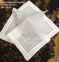 französische tische großhandel-Heimtextilien 12PCS / Lot Elegantes französisches styling weißes Leinen Tisch Napkin18