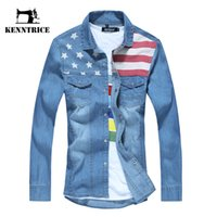 Venta al por mayor- Otoño Vintage American Flag Denim Shirt Hombres manga larga Blusa Mens Moda Light Blue Jeans blusa camisa con Botton