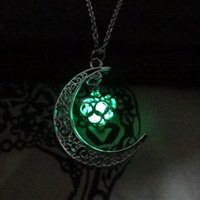 Wholesale Crystal Pendant Heart Shape - Glow In The moon heart-shaped pendant Censer Aromatherapy Essential Oil Diffuser Locket Water Drop Pendant Necklaces For Women Jewelry